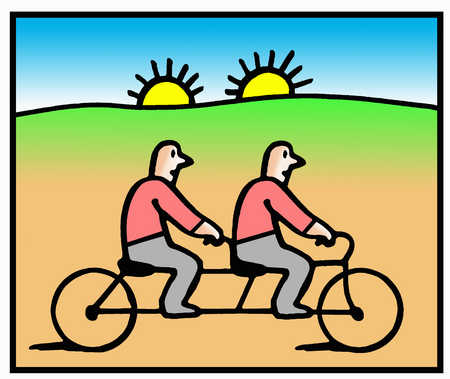 Two men riding bicycle with two suns rising