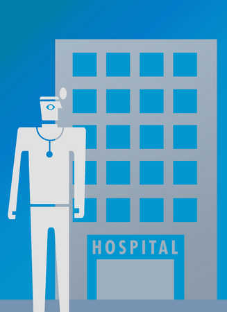Icon representing medic overlapping hospital icon