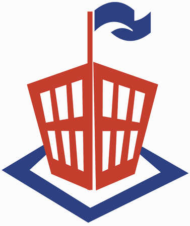 School icon with waving flag