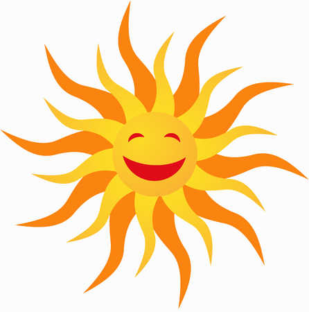 Icon sun orange and yellow laughing