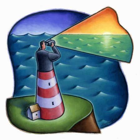 Man as lighthouse searching ocean