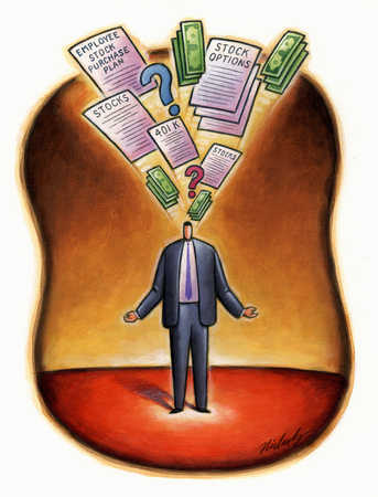 Businessman thinking about finances