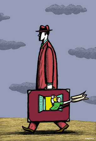 Man carrying family in briefcase