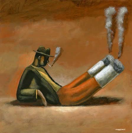 Cigarette man smoking himself