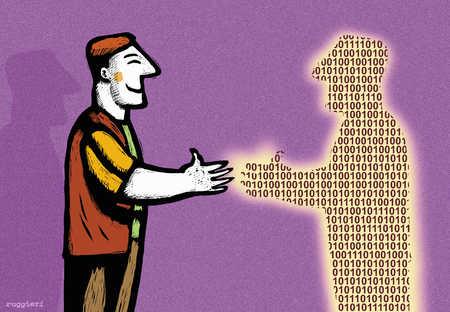 Man shaking binary man's hand