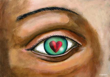 Close up of eye reflecting heart