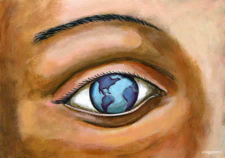 Close up of eye reflecting world