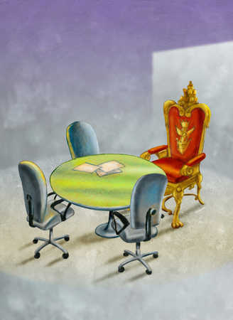 Throne and chairs in conference room
