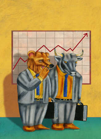 Bear and bull discussing stock market