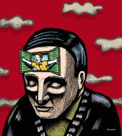 Optimistic man opening window in head