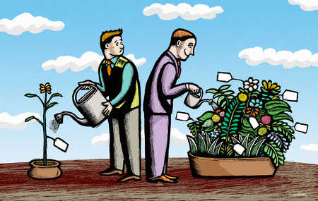 Men watering flowers