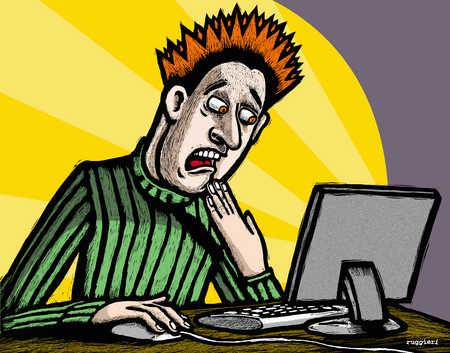 Shocked man looking at computer