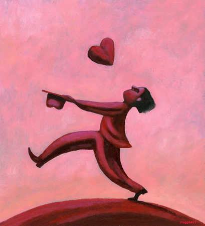 Man trying to catch heart in hat