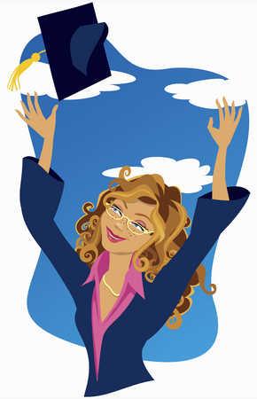 Female graduate throwing cap in air