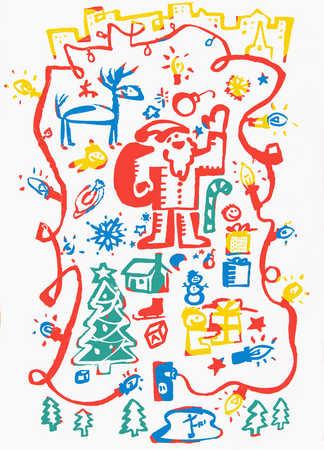 Santa Claus and Christmas symbols