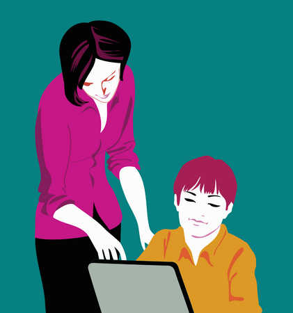 Mother and son working on computer