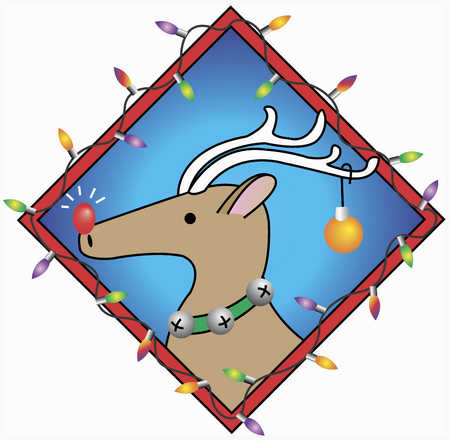 Reindeer with red nose and in frame of Christmas lights