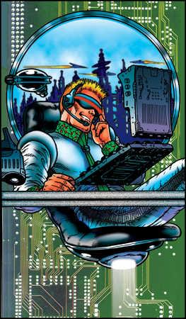 Futuristic businessman at desk