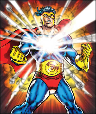 Male superhero deflecting laser beam