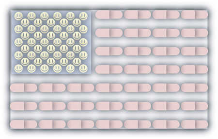 American flag made of smiley faces and pills
