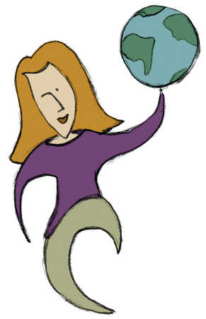 Woman holding globe on one hand