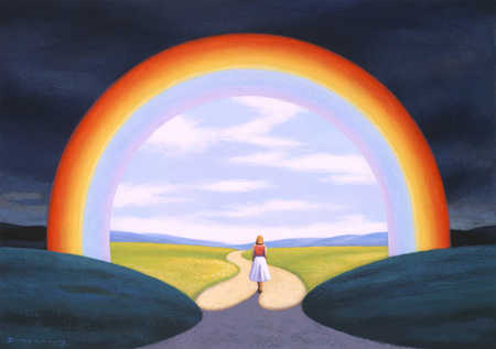 Woman walking under rainbow into bright sunlight