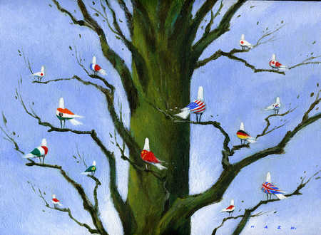 Birds painted with national flags sitting on tree branches