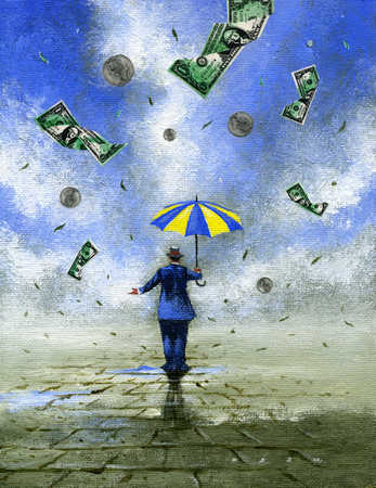 Stock Illustration Businessman With Umbrella While Money Is