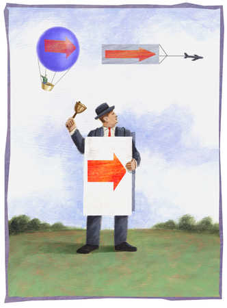 Hot air balloon, airplane and man with arrows on them