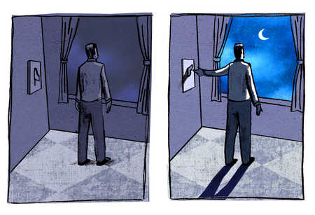 Man looking out window and turning on moon with light switch