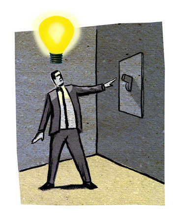 Man with light bulb over head holding arm out to light switch