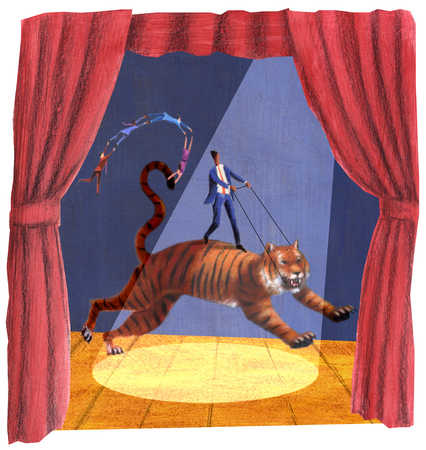 Man riding tiger on stage