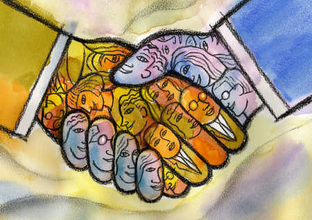 Handshake with hands made up of people