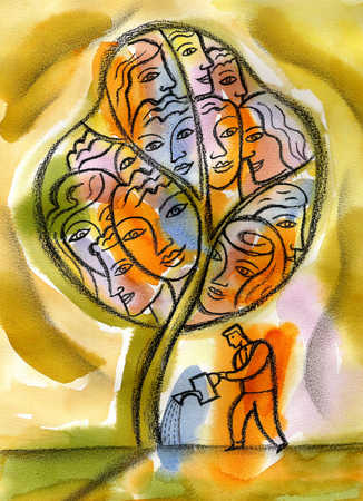 Man watering tree of women's faces