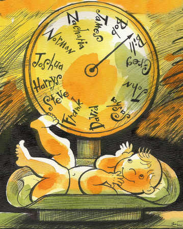 Baby on scale with names on dial