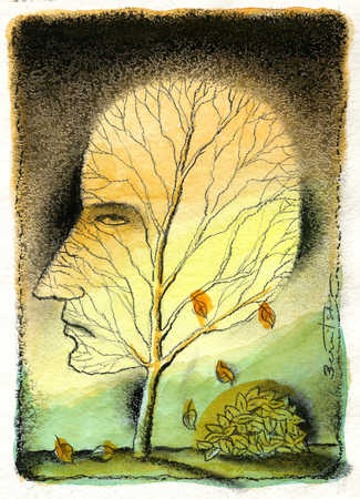 Man's head as tree with leaves falling off