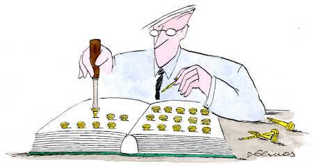 Businessman screwing screws into book