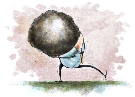 Businessman lugging large boulder on his back