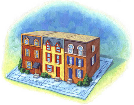stock illustration - apartment buildings on sheet of blueprints