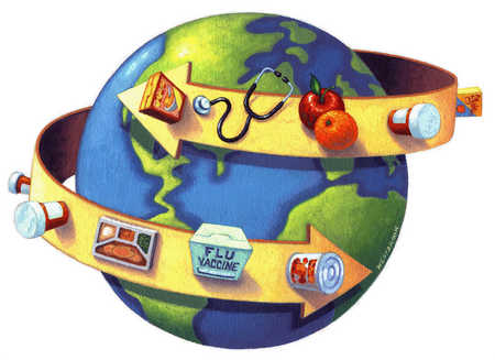 Earth wrapped with arrow holding items for healthy living