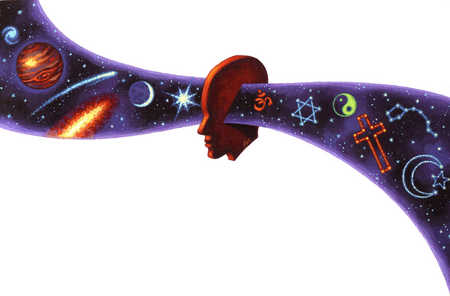 Head with universe going through middle and religious symbols