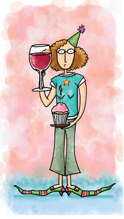 Woman holding glass of wine and cupcake with candle