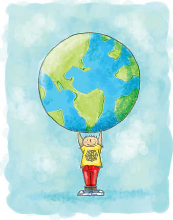 Boy holding up the earth