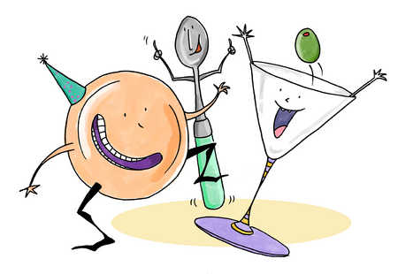Martini glass, plate and spoon dancing