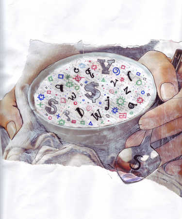 Close up person holding bowl of letter and symbols