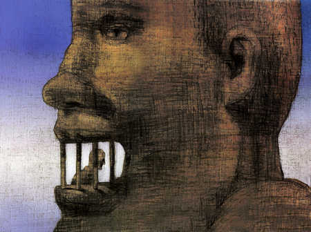 Giant head with person imprisoned in mouth