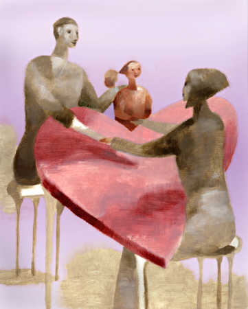 Family holding hands over heart table
