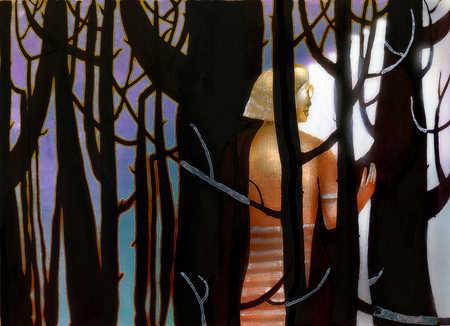 Woman walking through dark woods