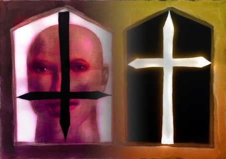 Face behind upside down cross next to right side up cross