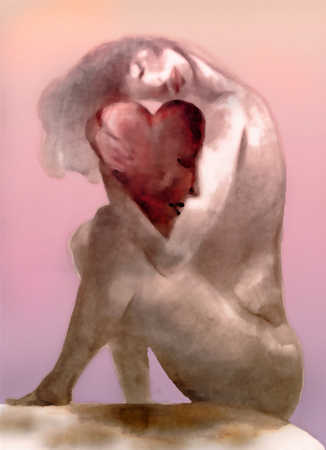 Nude woman hugging heart with face